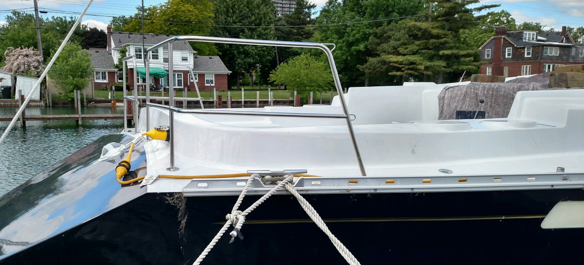 Example of a custom stainless stern rail from White Water Marine